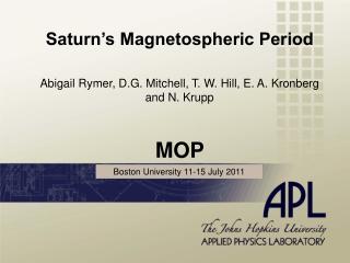 Saturn's Magnetospheric Period