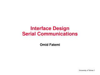 Interface Design Serial Communications