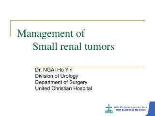 Management of 			 Small renal tumors