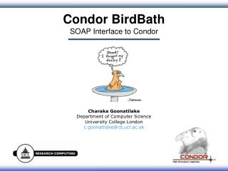 Condor BirdBath SOAP Interface to Condor