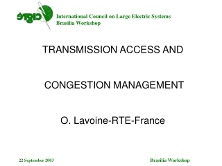 TRANSMISSION ACCESS AND  CONGESTION MANAGEMENT O. Lavoine-RTE-France