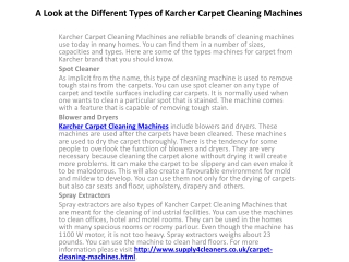 A Look at the Different Types of Karcher Carpet Cleaning Mac