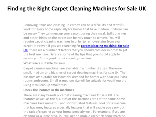 Finding the Right Carpet Cleaning Machines for Sale UK