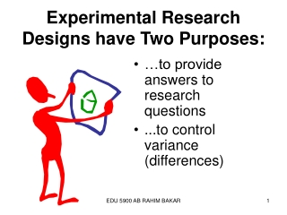 Experimental Research Designs have Two Purposes: