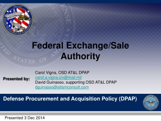 Federal Exchange/Sale Authority