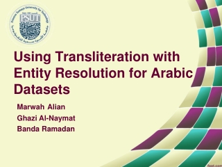 Using Transliteration with Entity Resolution for Arabic Datasets