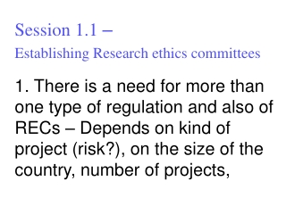 Session 1.1  – Establishing Research ethics committees