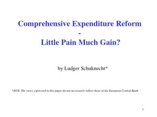 Comprehensive Expenditure Reform  -  Little Pain Much Gain?