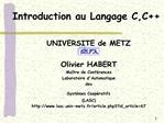 Introduction au Langage C,C