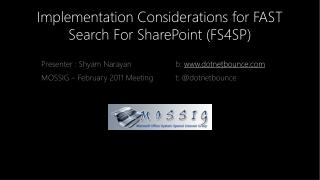 Implementation Considerations for FAST Search For SharePoint (FS4SP)
