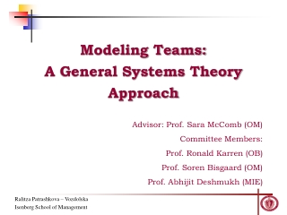 Modeling Teams: A General Systems Theory Approach