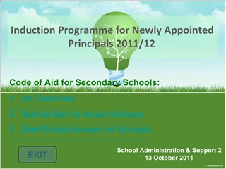 Induction Programme for Newly Appointed Principals 2011