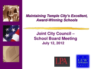 Maintaining Temple City's Excellent,  Award-Winning Schools