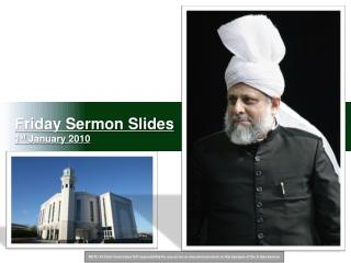 Friday Sermon Slides 1 st  January 2010