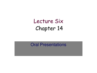 Lecture Six        Chapter 14