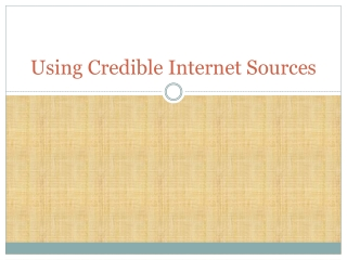 Using Credible Internet Sources
