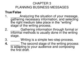 CHAPTER 3 PLANNING BUSINESS MESSAGES
