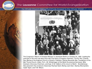 Jack Dain's welcoming comments to the 1974 International Congress on World Evangelization