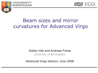 Beam sizes and mirror curvatures for Advanced Virgo