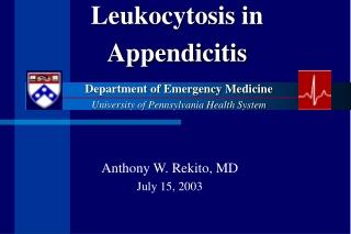 Leukocytosis in Appendicitis