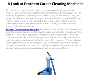 A Look at Prochem Carpet Cleaning Machines