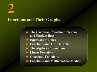 The Cartesian Coordinate System          and Straight lines Equations of Lines Functions and Their Graphs The Algebra of