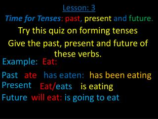 Lesson: 3 Time for Tenses : past ,  present  and  future .