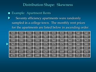 Seventy efficiency apartments were randomly