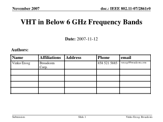 VHT in Below 6 GHz Frequency Bands