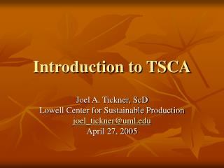 Introduction to TSCA