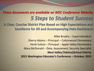 Mike Brophy – Superintendent Sherry Adams – Principal – Cottonwood Elementary