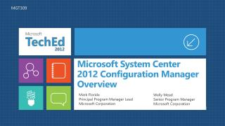 Microsoft System Center  2012 Configuration  Manager  Overview