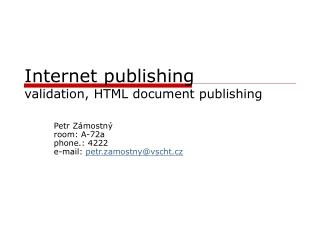 Internet publishing validation, HTML document publishing