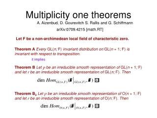 Multiplicity one theorems