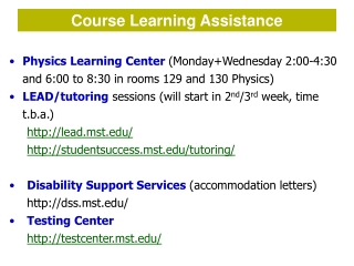 Course Learning Assistance