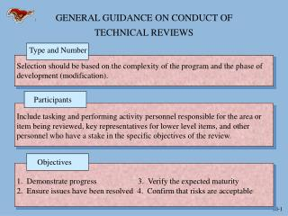 GENERAL GUIDANCE ON CONDUCT OF  TECHNICAL REVIEWS