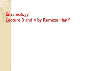 Enzymology Lecture 3 and 4 by  Rumeza Hanif