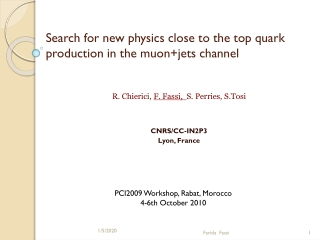 Search for new physics close to the top quark production in the  muon+jets  channel