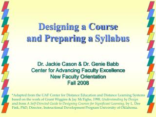 Designing a Course  and Preparing a Syllabus