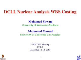 1.8.1.1.3.1  Preliminary Design  (Wong) 1.8.1.1.3.1.3 Nuclear Analysis (Sawan/Youssef)