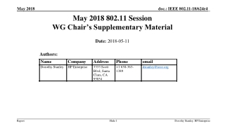 May 2018 802.11 Session WG Chair's Supplementary Material