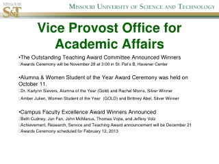 Vice Provost Office for Academic Affairs