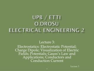 UPB / ETTI O.DROSU Electrical Engineering 2