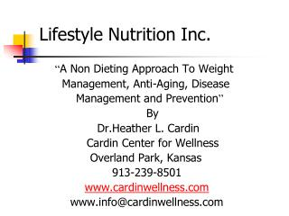 Lifestyle Nutrition Inc.