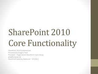 SharePoint 2010 Core Functionality
