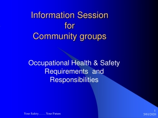 Information Session for  Community groups