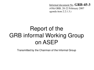 Informal document No .  GRB-45-3 (45th GRB, 20-22 February 2007 agenda  i tem  2.2.1.3.)