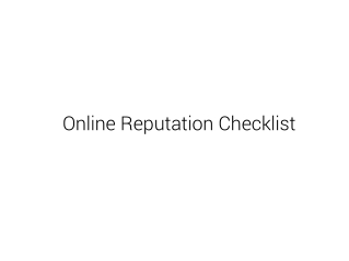 Online Reputation Checklist
