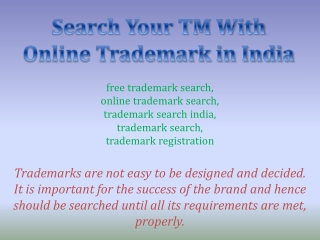 Search Your TM With Online Trademark in India