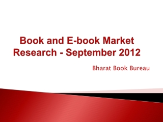 Book and E-book Market Research - September 2012